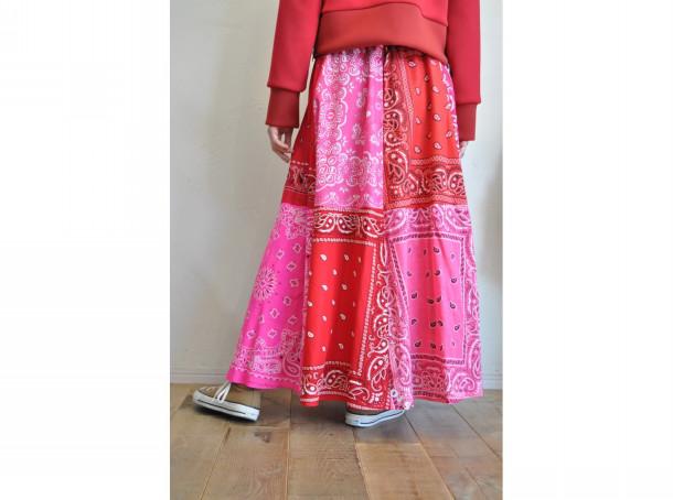【RehersalL】bandanna flare skirt(red B) /【リハーズオール】バンダナフレアスカート(レッドB)