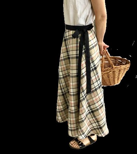 リネンサーキュラーラップスカート《ベージュタータン》