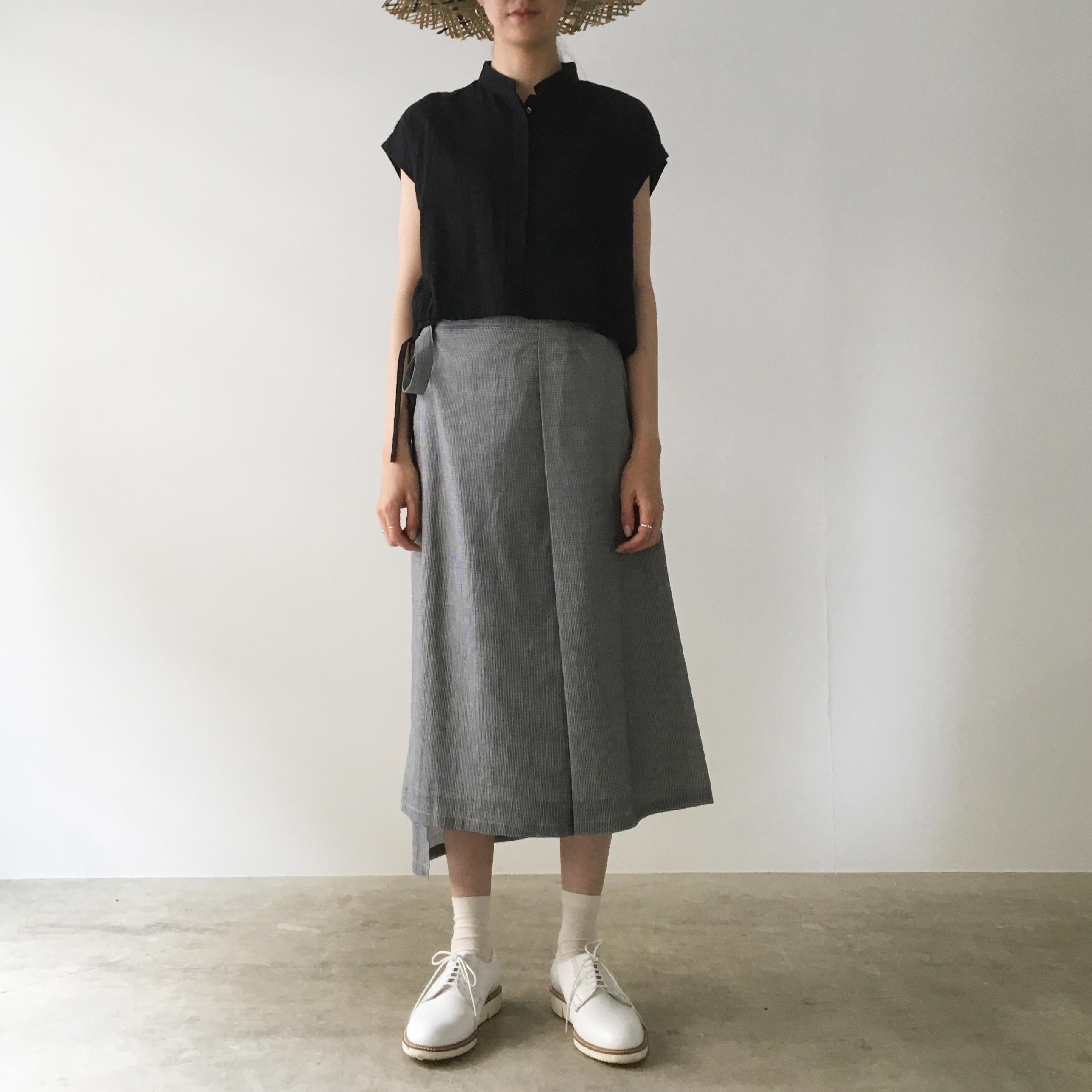 "Wrapped skirt ""black pin check"""