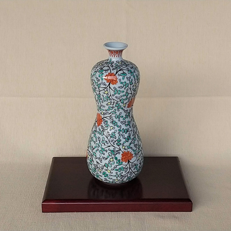 伐太郎窯 錦 唐花 瓢型花瓶