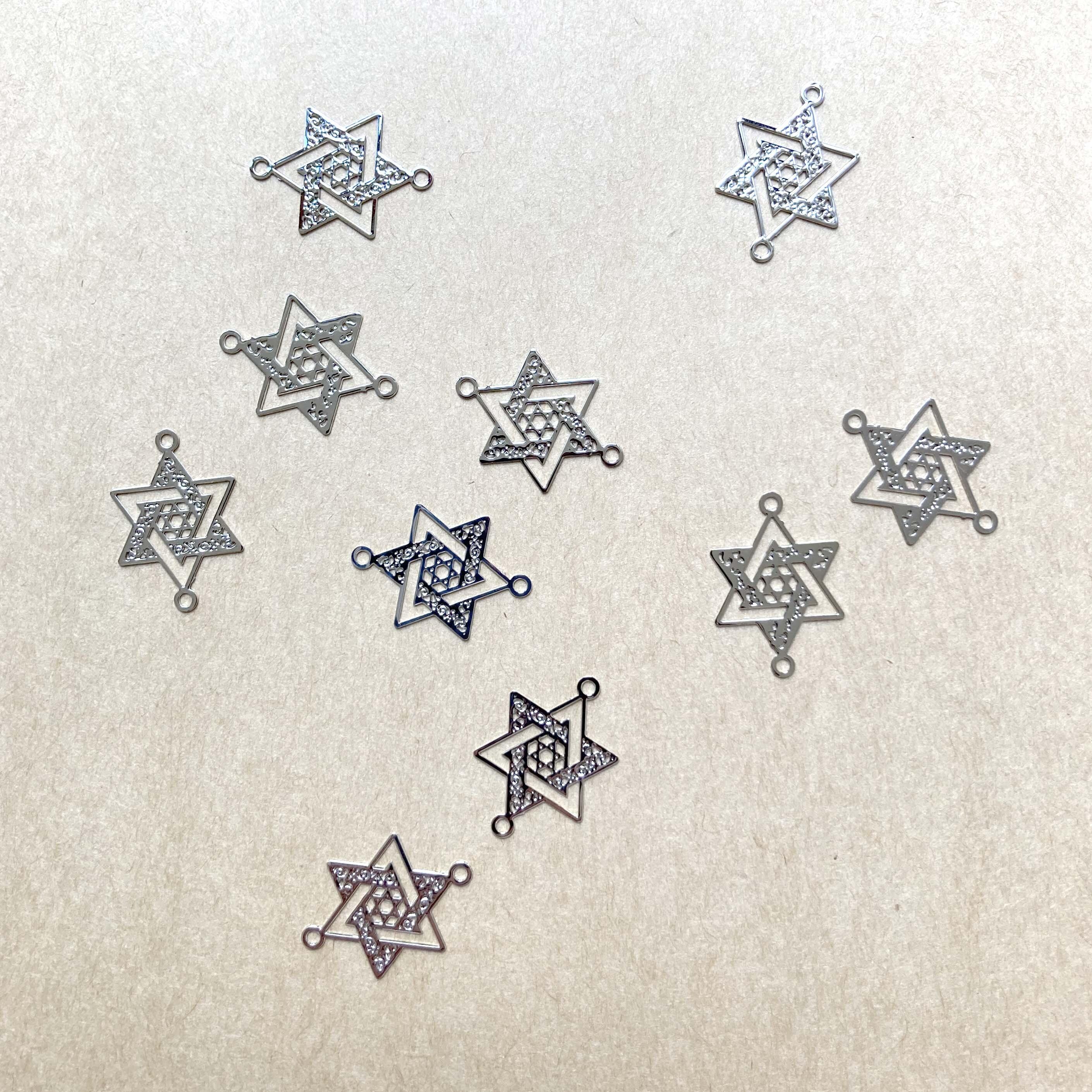 コネクター チャーム ダビデの星 六芒星 シルバートーン 10個