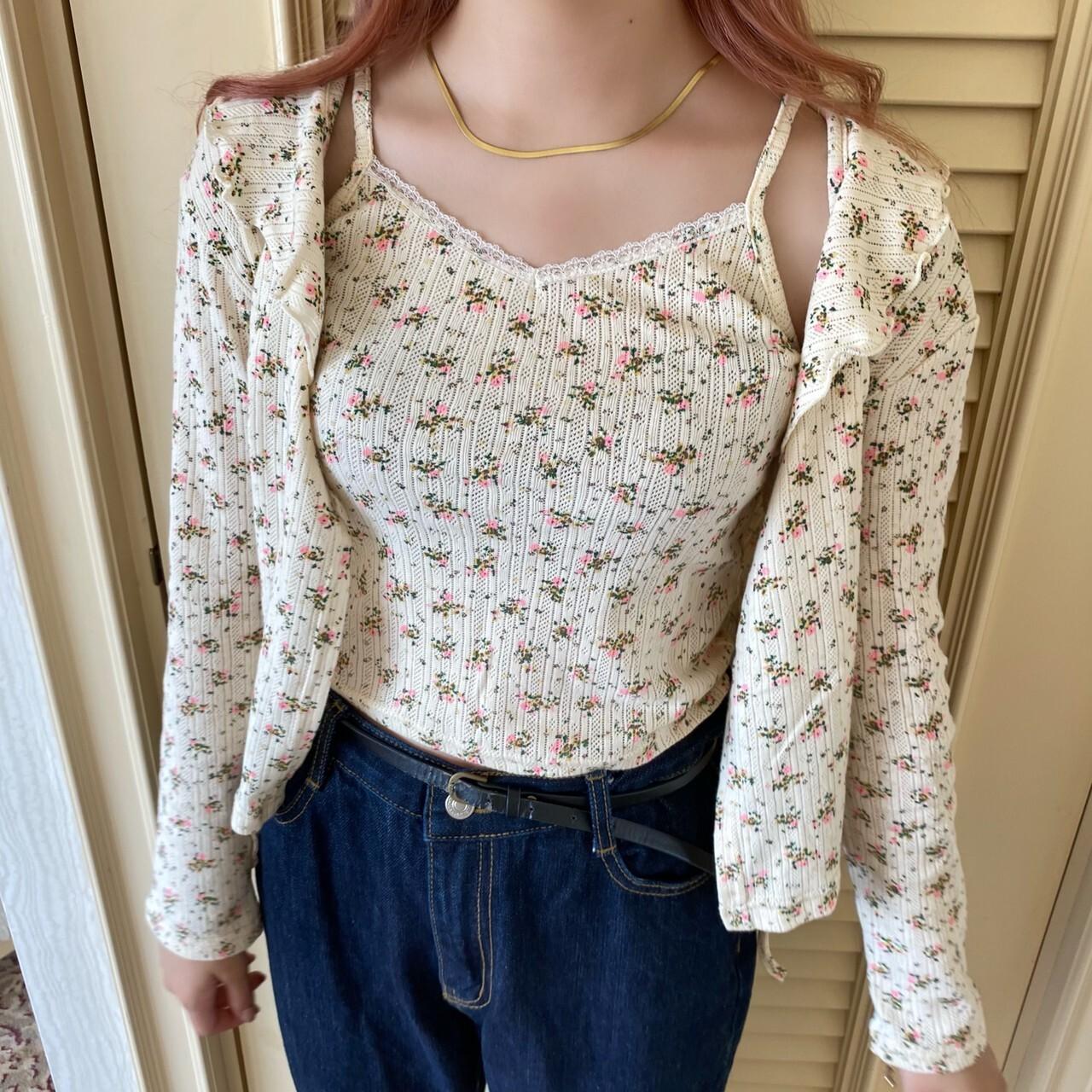 【ももはな】flower cami set cardigan