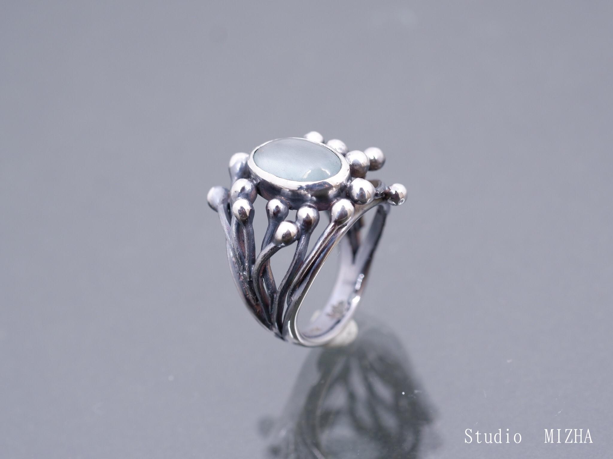 萌え立つ生命のイメージのリング(金工の指飾りmr21212)