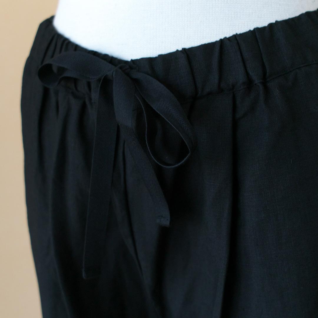 Gauze# ガーゼ G507 linen garcon pant リネンギャルソンパンツ・ブラック