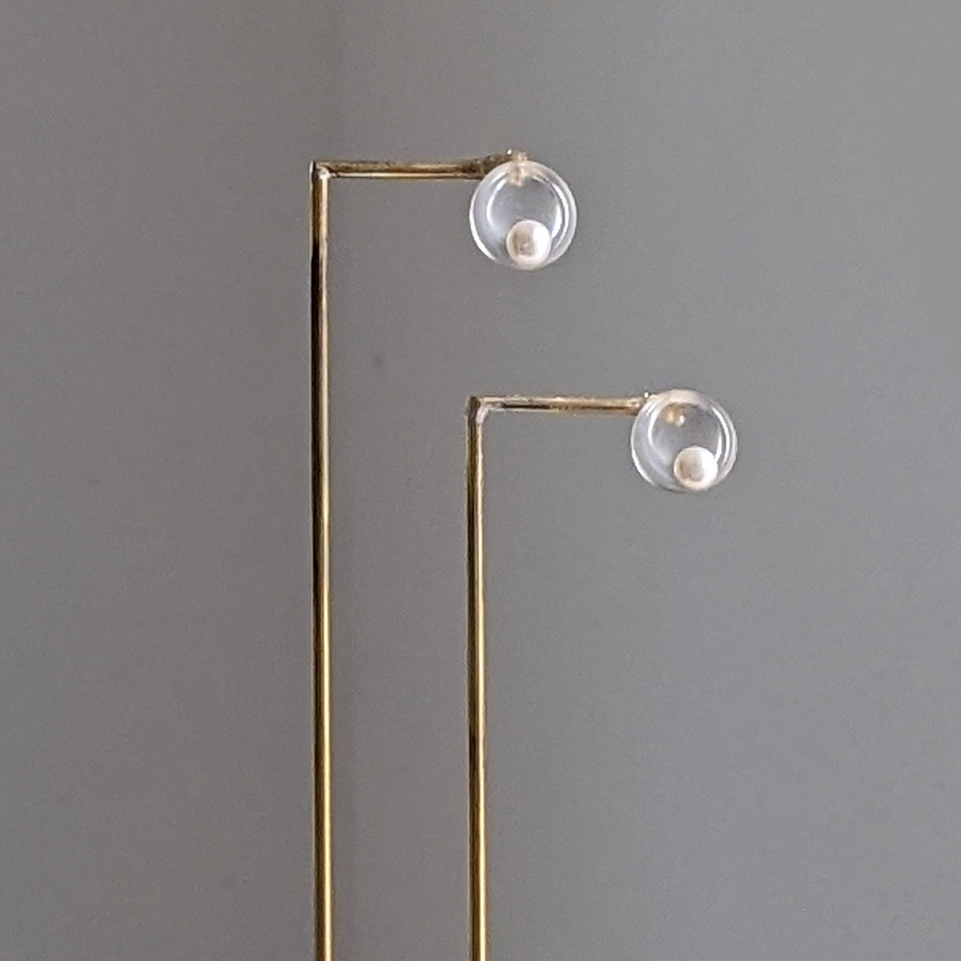 minimal glass+pearl pierce /earring