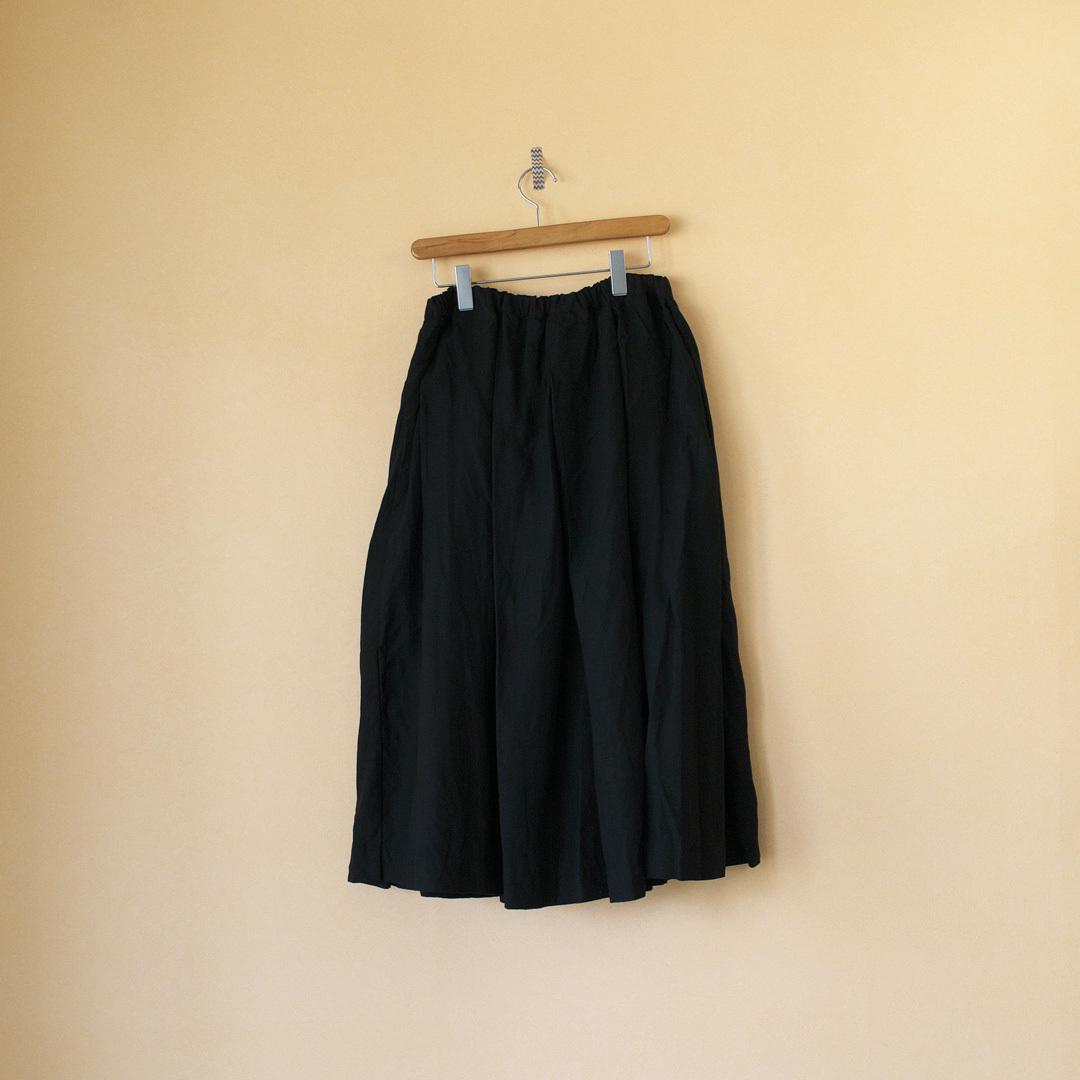 Gauze# ガーゼ G504 linen pleated skirt リネンプリーツスカート・ブラック