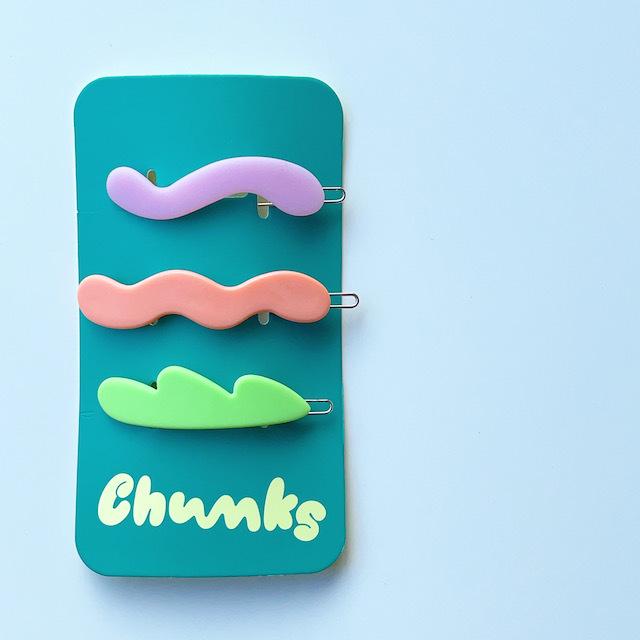 "Chunks ""Mini Waves Barrettes"" 3P SET Pastel チャンクス ・ヘアピン"