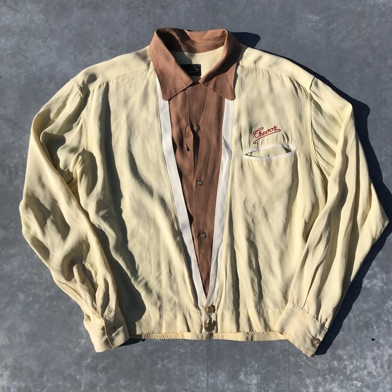 70's LEE TREVOR リー トレヴォー ボーリングシャツ BARACUTA 珍品 レイヤードタイプ 刺繍 オープンカラー M位 希少 ヴィンテージ