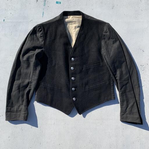 50's 60's British Railway sleeved waistcoat uniform jacket ドライバーズジャケット シグナルマン VEST ブラック ウール イギリス国鉄 電車 S~M 希少 ヴィンテージ