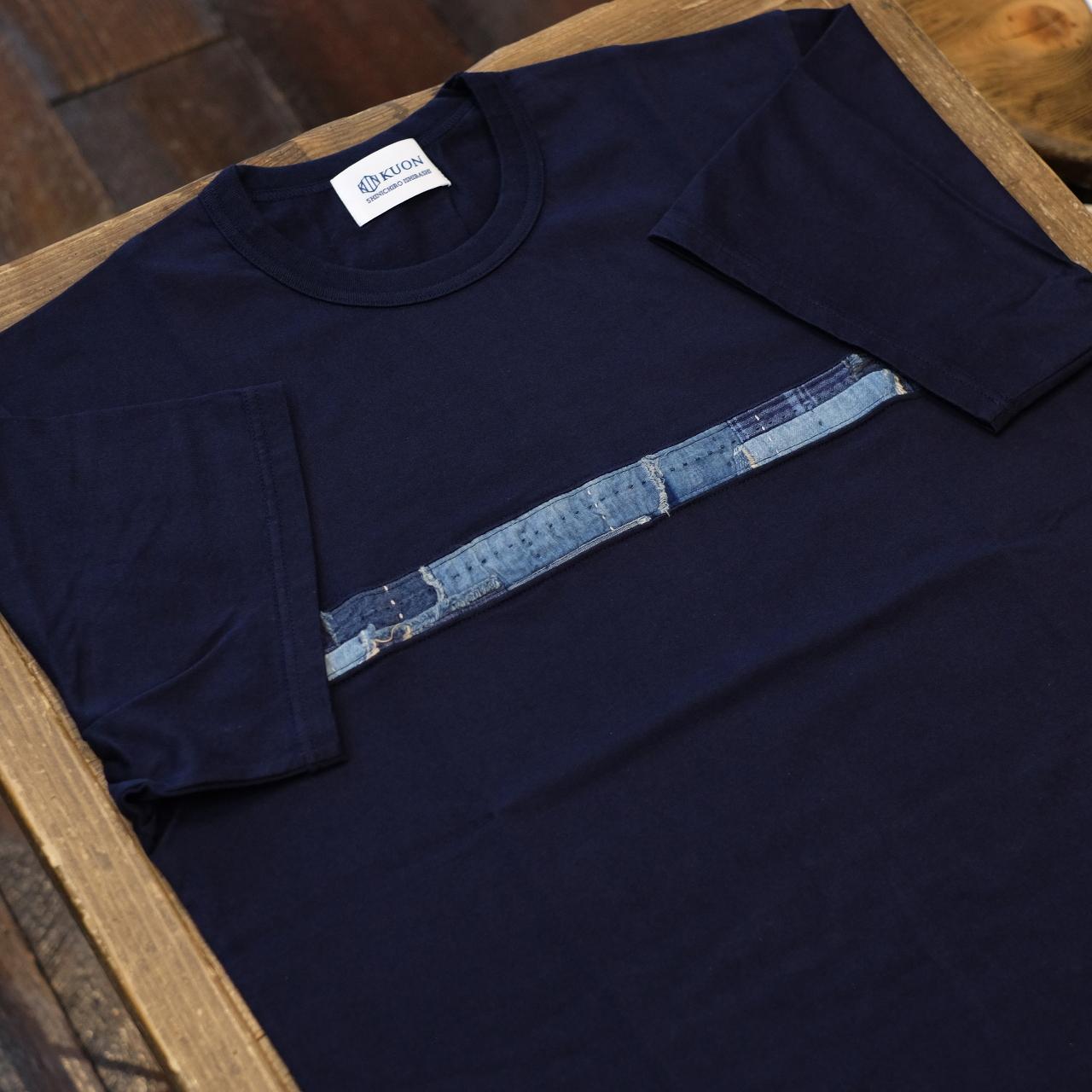 KUON(クオン) アップサイクル襤褸 トリミングTシャツ ネイビー