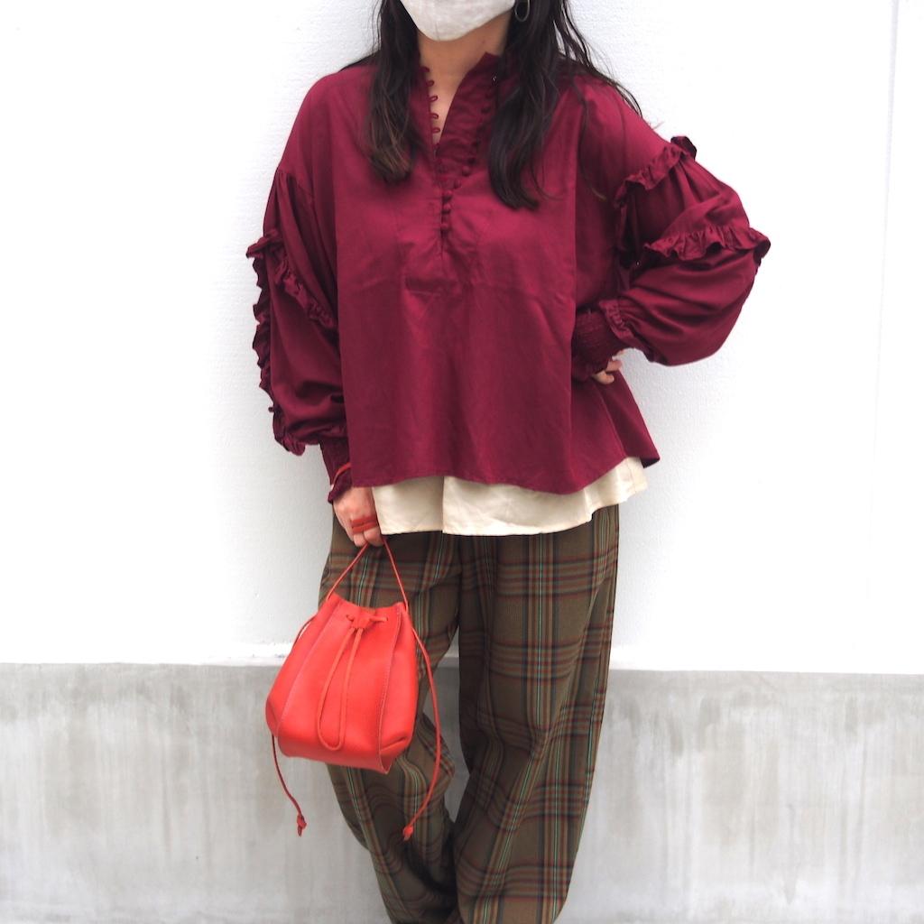 【RehersalL】twill frill blouse(wine) /【リハーズオール】ツイルフリルブラウス(ワイン)