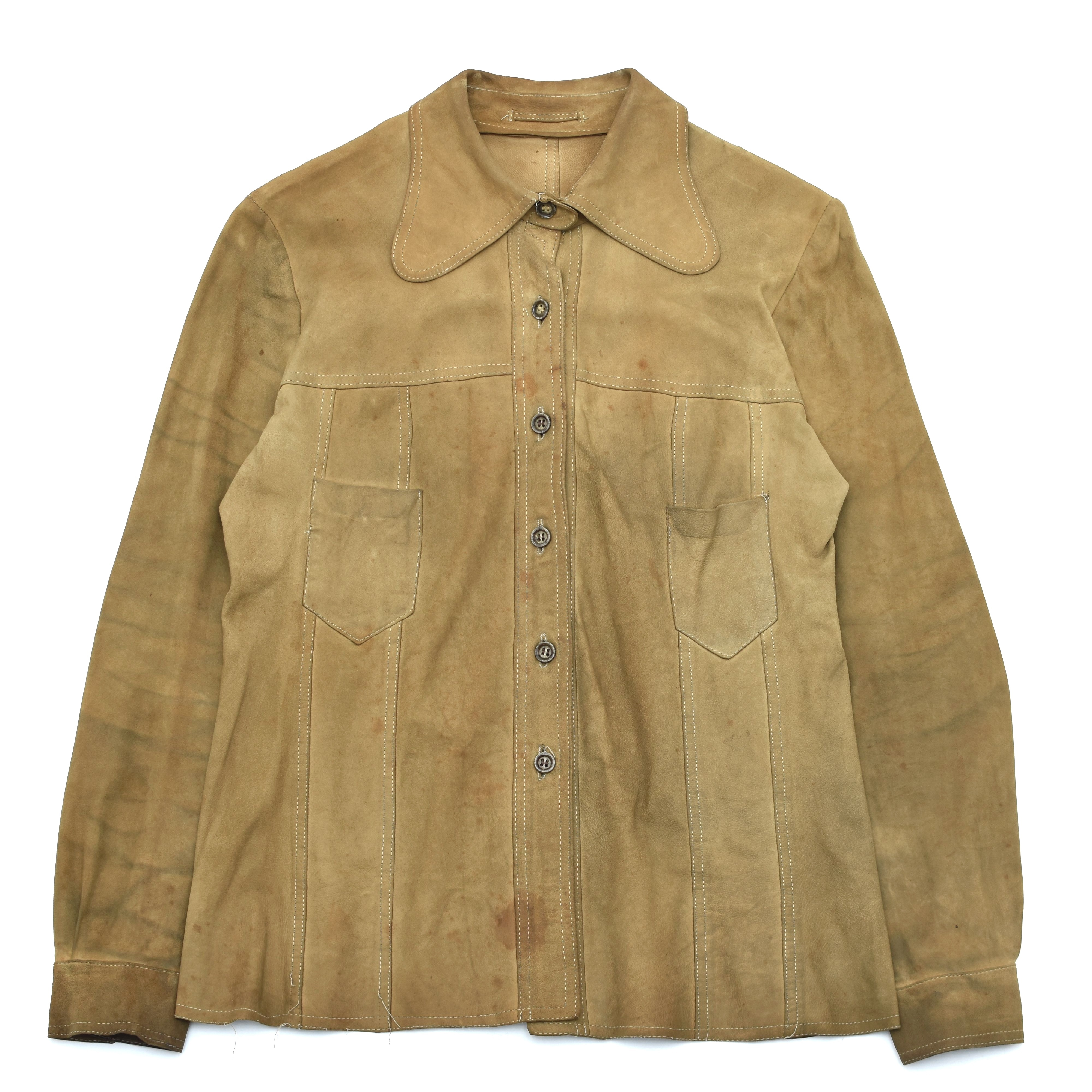 Yellow suede aging leather shirt