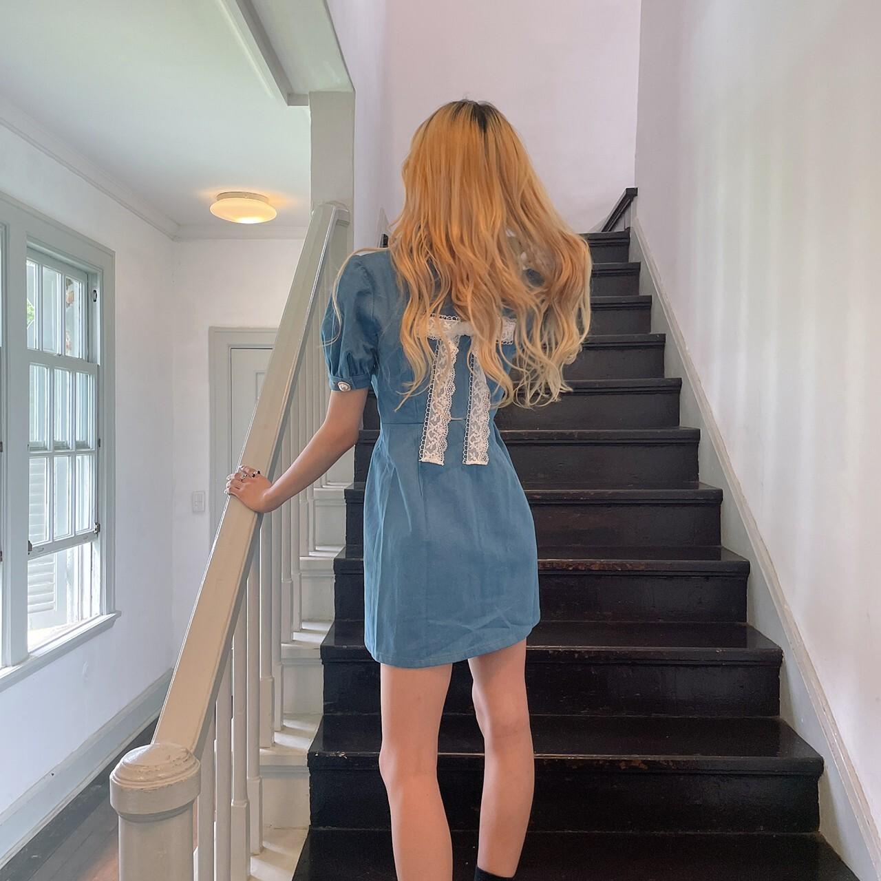 【SUMMER VACATION FAIR!】NANA original back ribbon denim onepiece