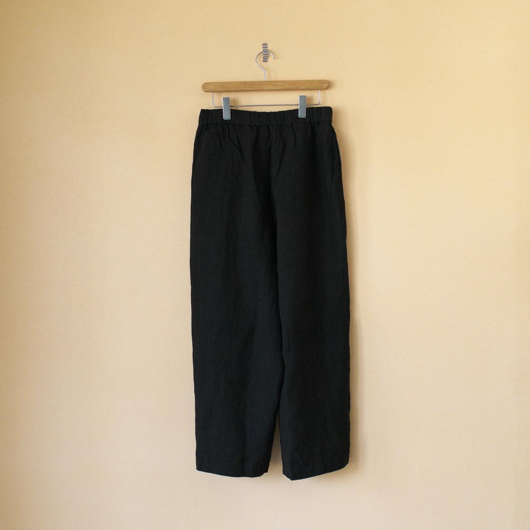 Gauze# ガーゼ G225L linen roomy long pant リネンルーミーロングパンツ・ブラック