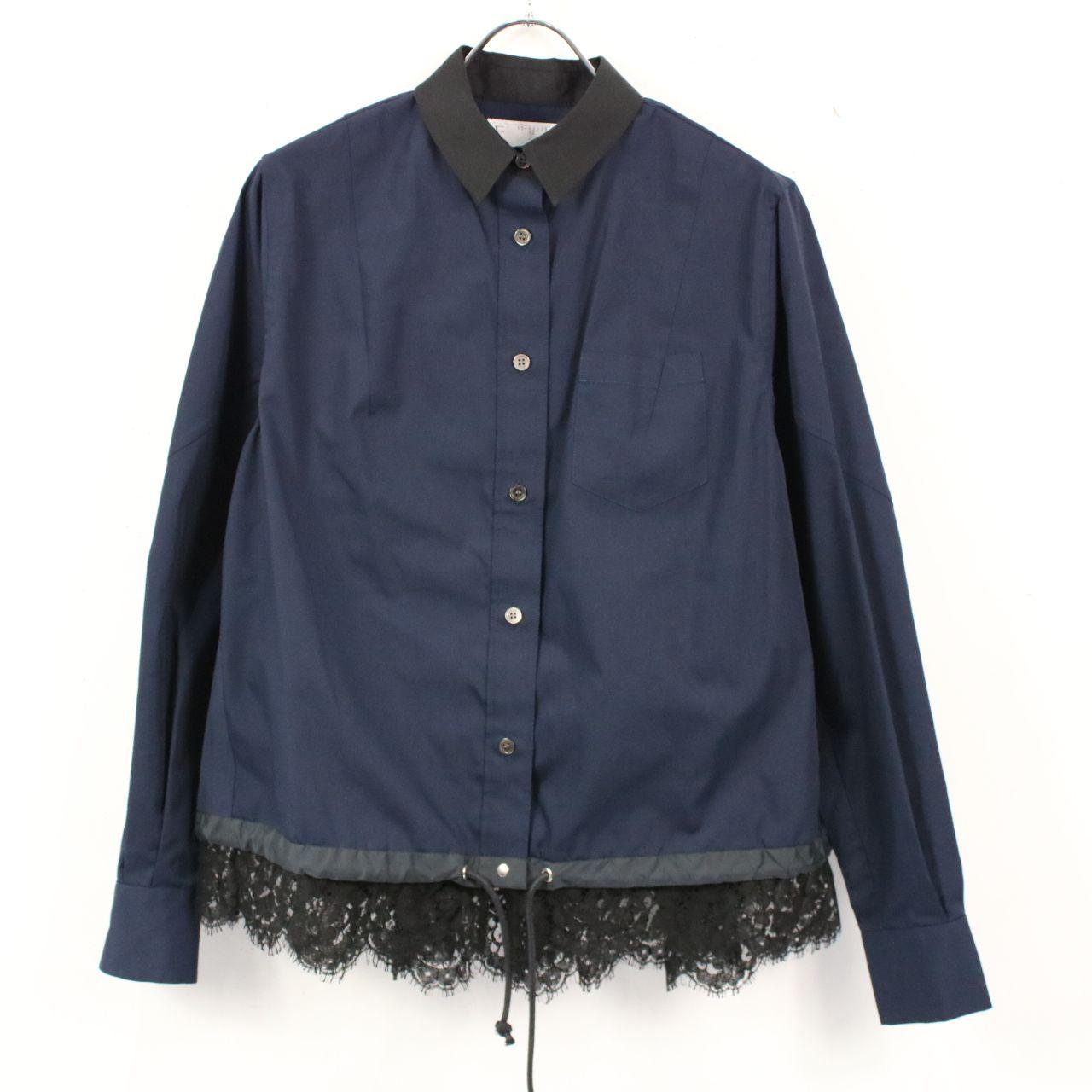 sacai / サカイ   裾レースドッキングシャツブラウス   2   ネイビー