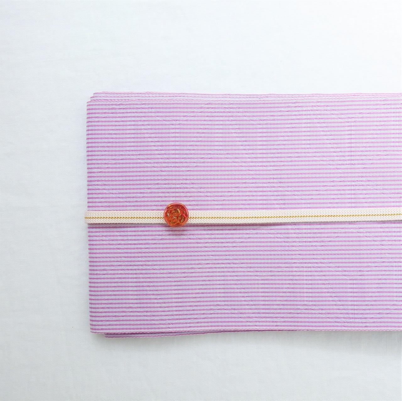 【浴衣 ゆかた用 半巾帯】 薄紫色 麻の葉ストライプ