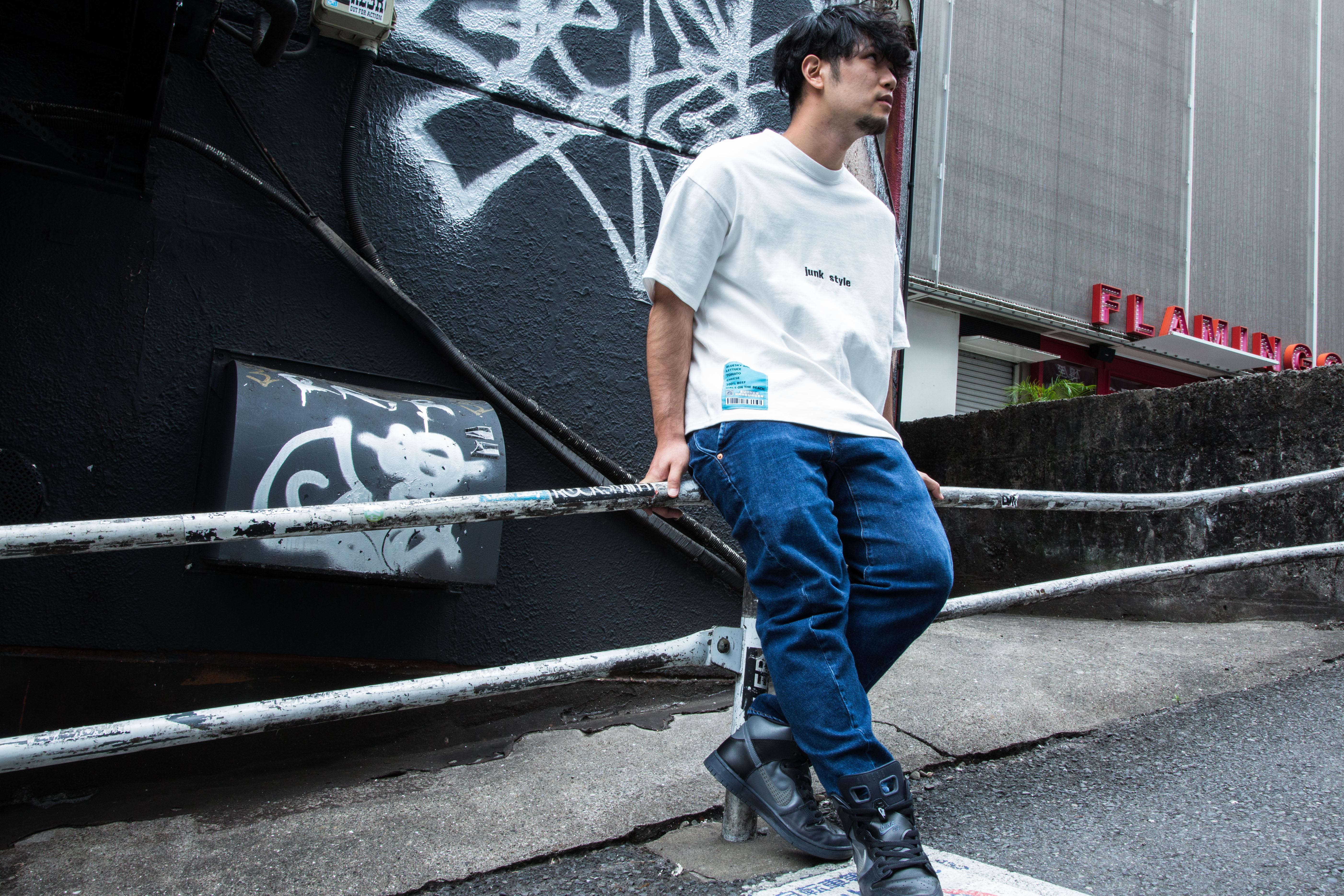 junk style T-SHIRT - WHITE