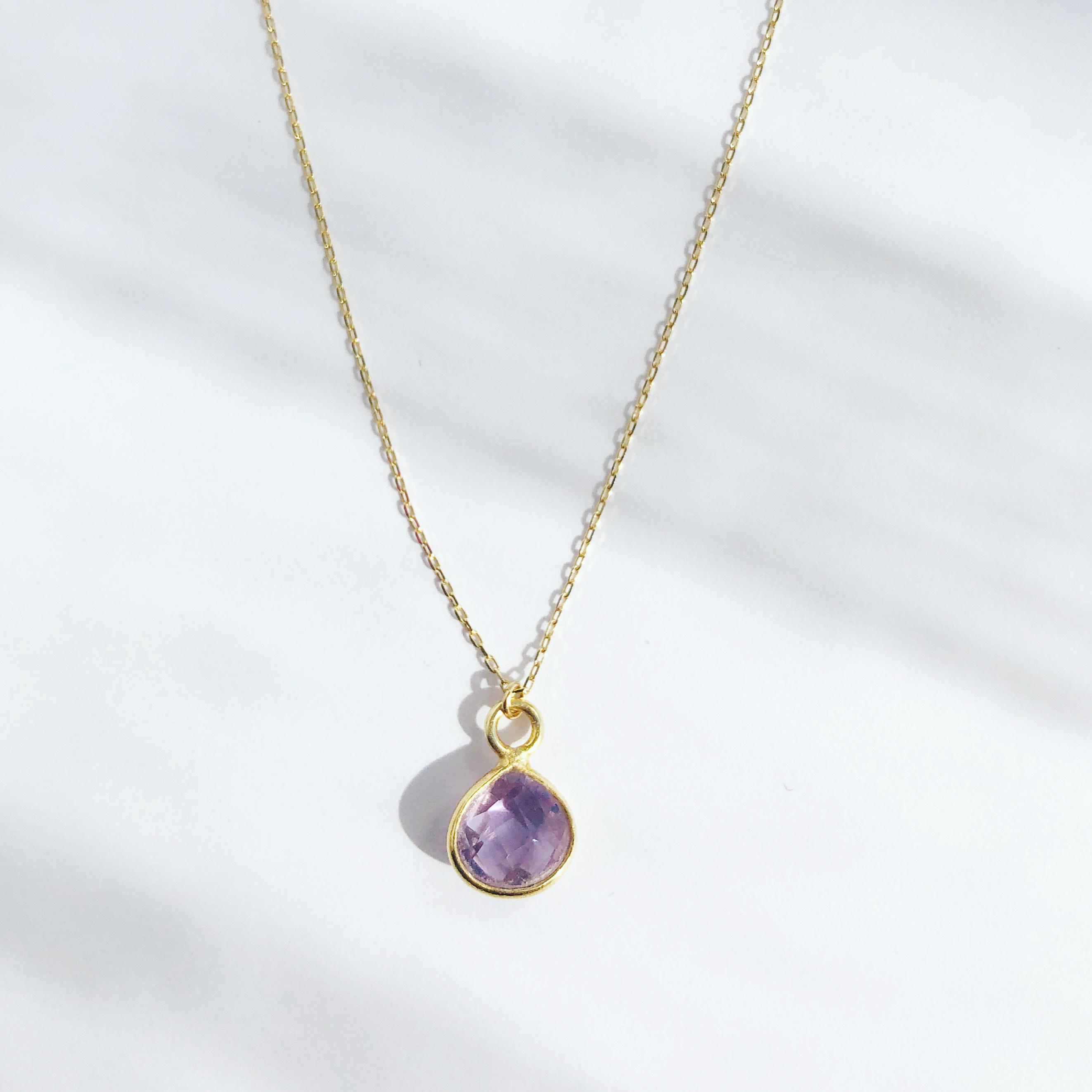 Lavender Amethyst Earth Prism Necklace / K10YG