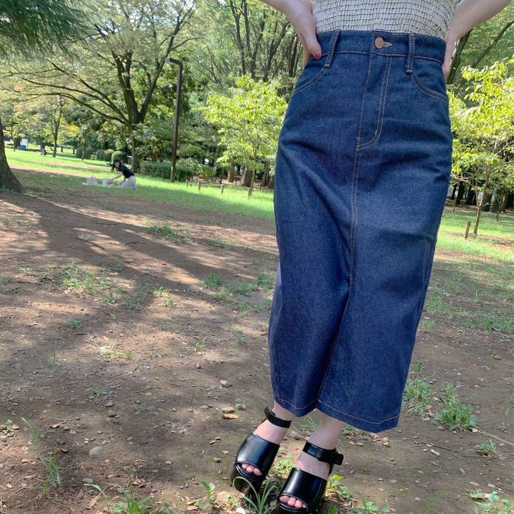 denim slit long skirt [2105-38]