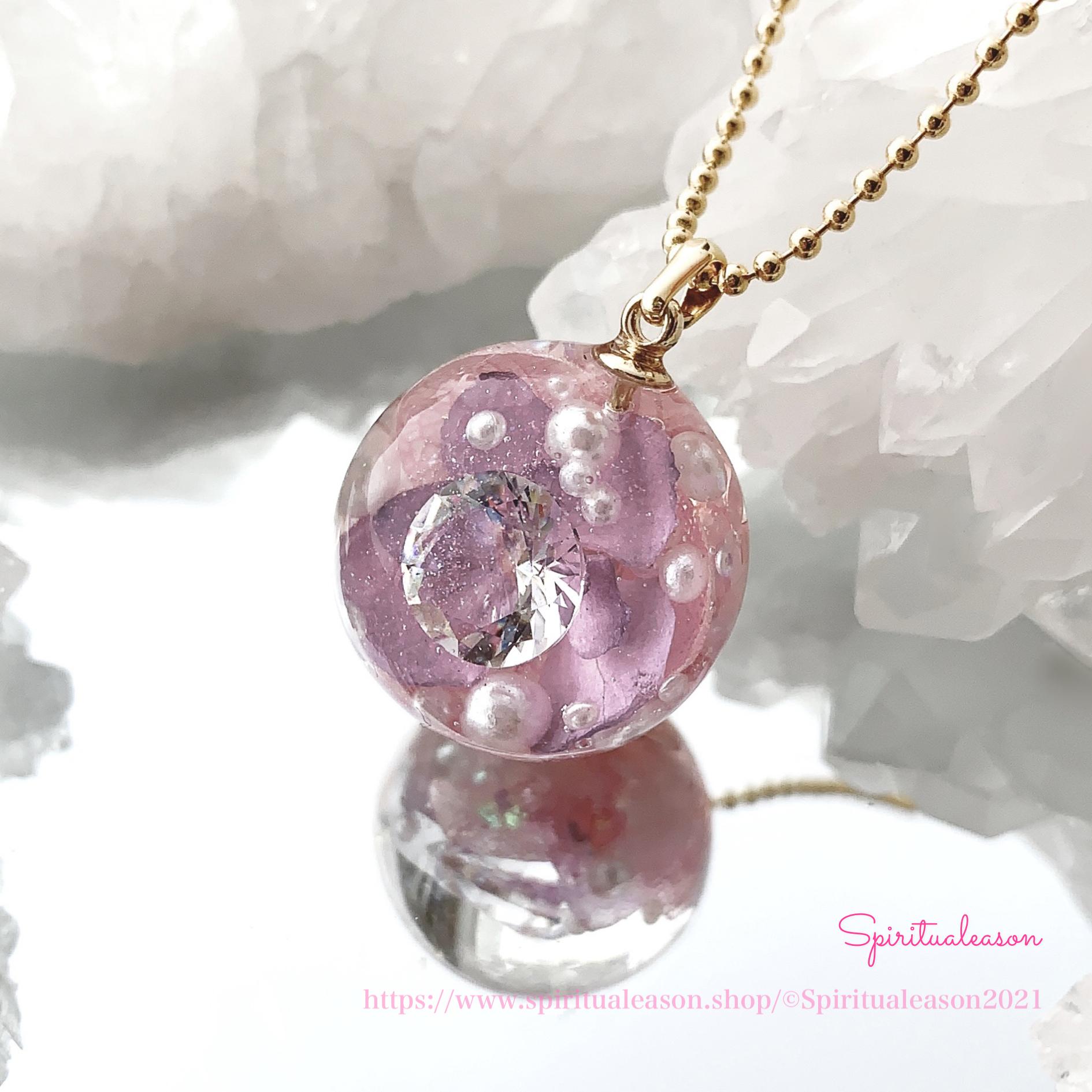 雨粒はダイヤモンド(直径約21mm)桃色ver.ペンダント /『雨のち晴れ気分』シリーズ