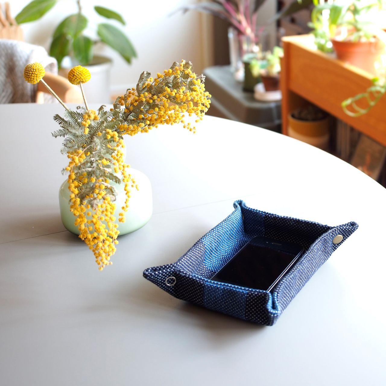 うしじま縫製   武州正藍染 長方形トレイ 一重刺子