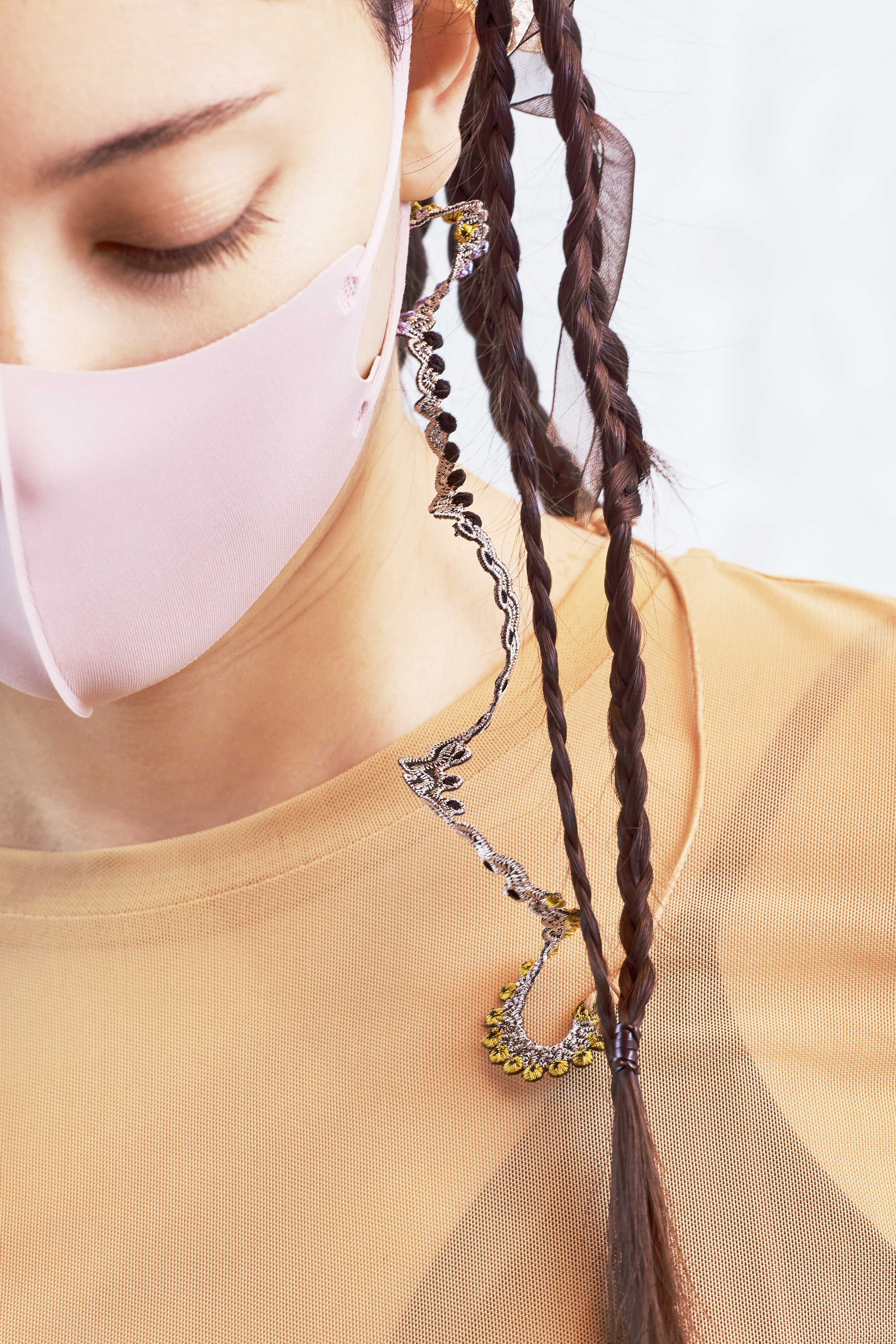 ARRO / Embroidery mask strap  / glass code  / WHORLS / GRAY