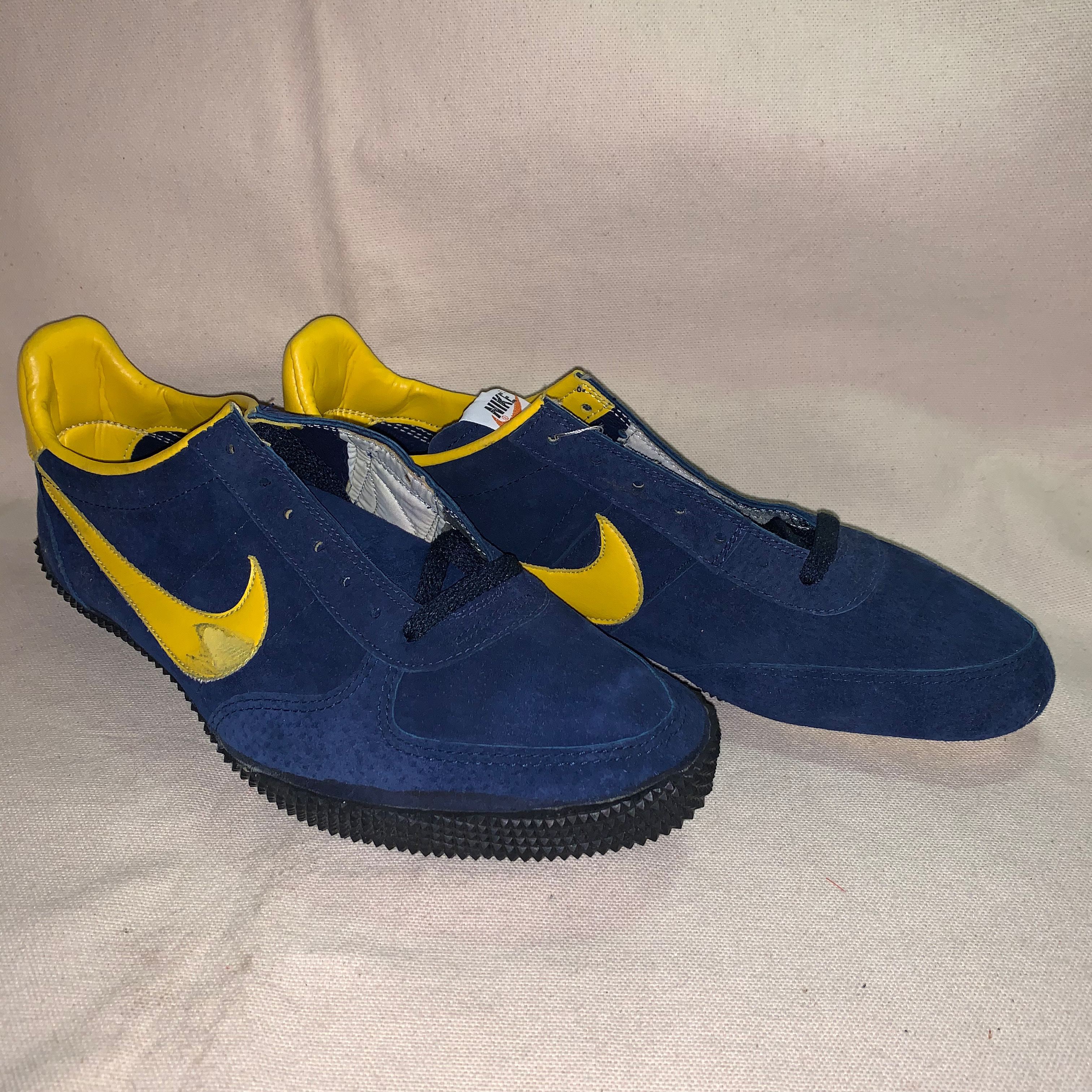 70's NIKE HIGH JUMP navy blue / marigold US9.5 競技用/スパイク Made in USA  Dead Stock