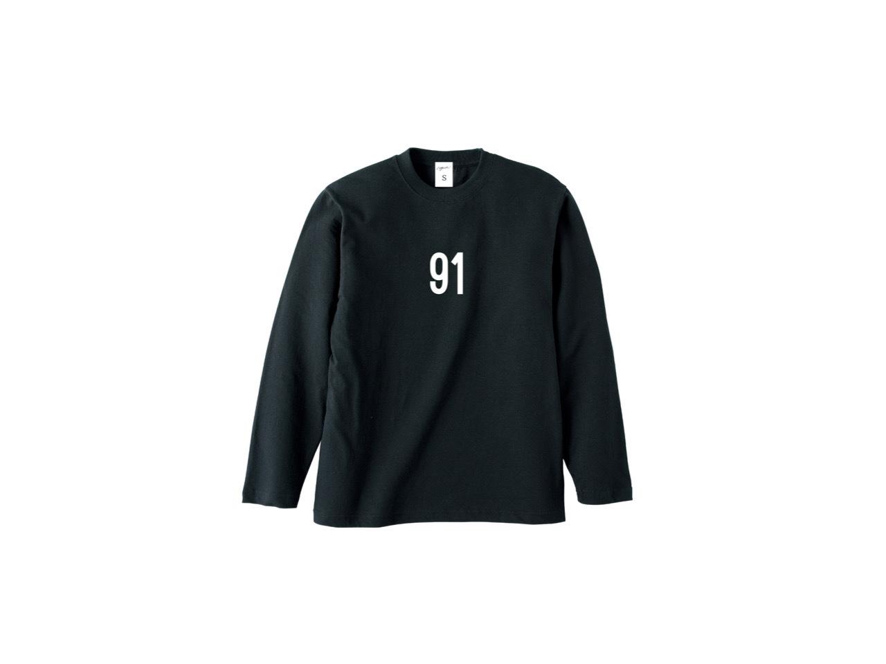 91 logo long T-shirts (BLK)