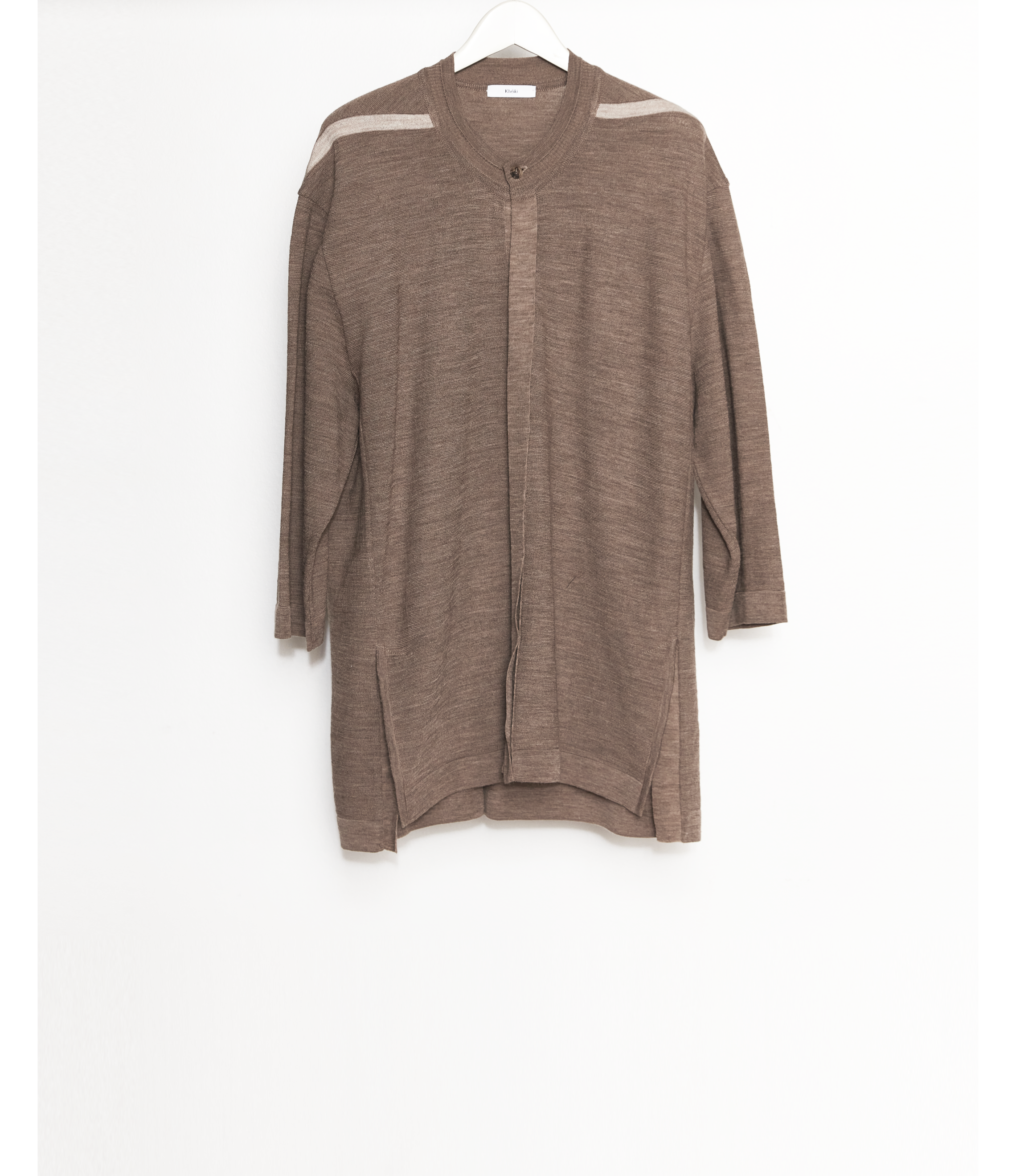 Open front Knit T-Shirt / Brown