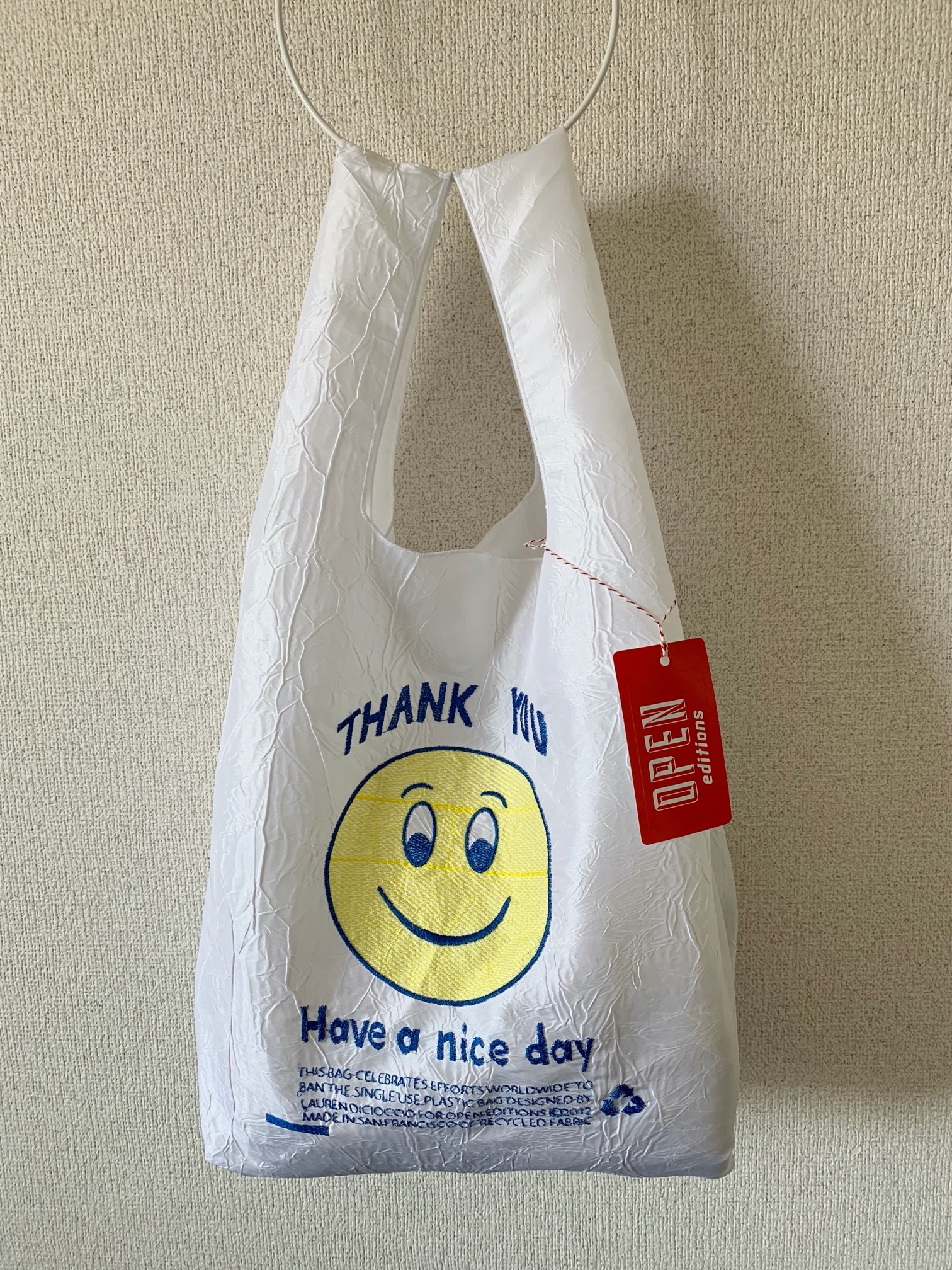 【OPEN EDITIONS / 送料無料】THANK YOU TOTE エコバッグ/ SMILE White