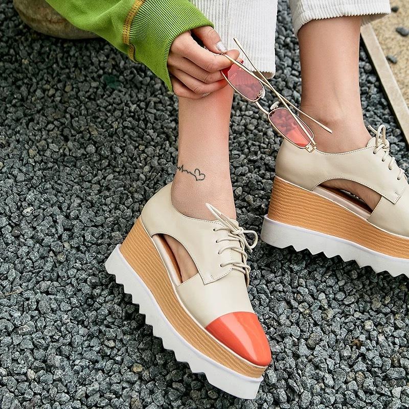 color toe flat shoes