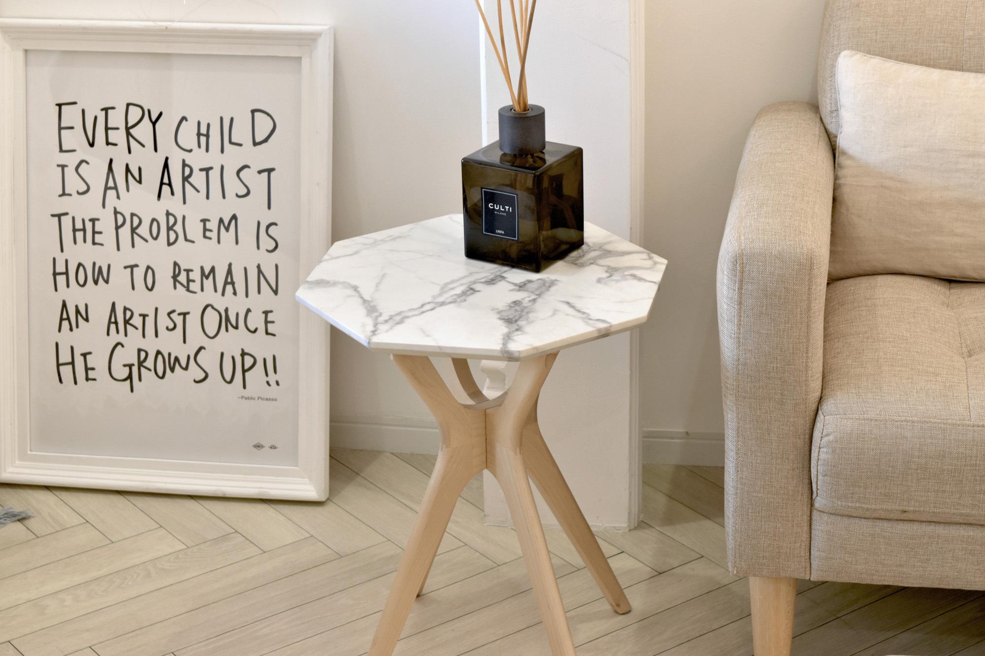Marble Side Table 400 / 大理石モダンスタイル 大理石調 サイドテーブル 400