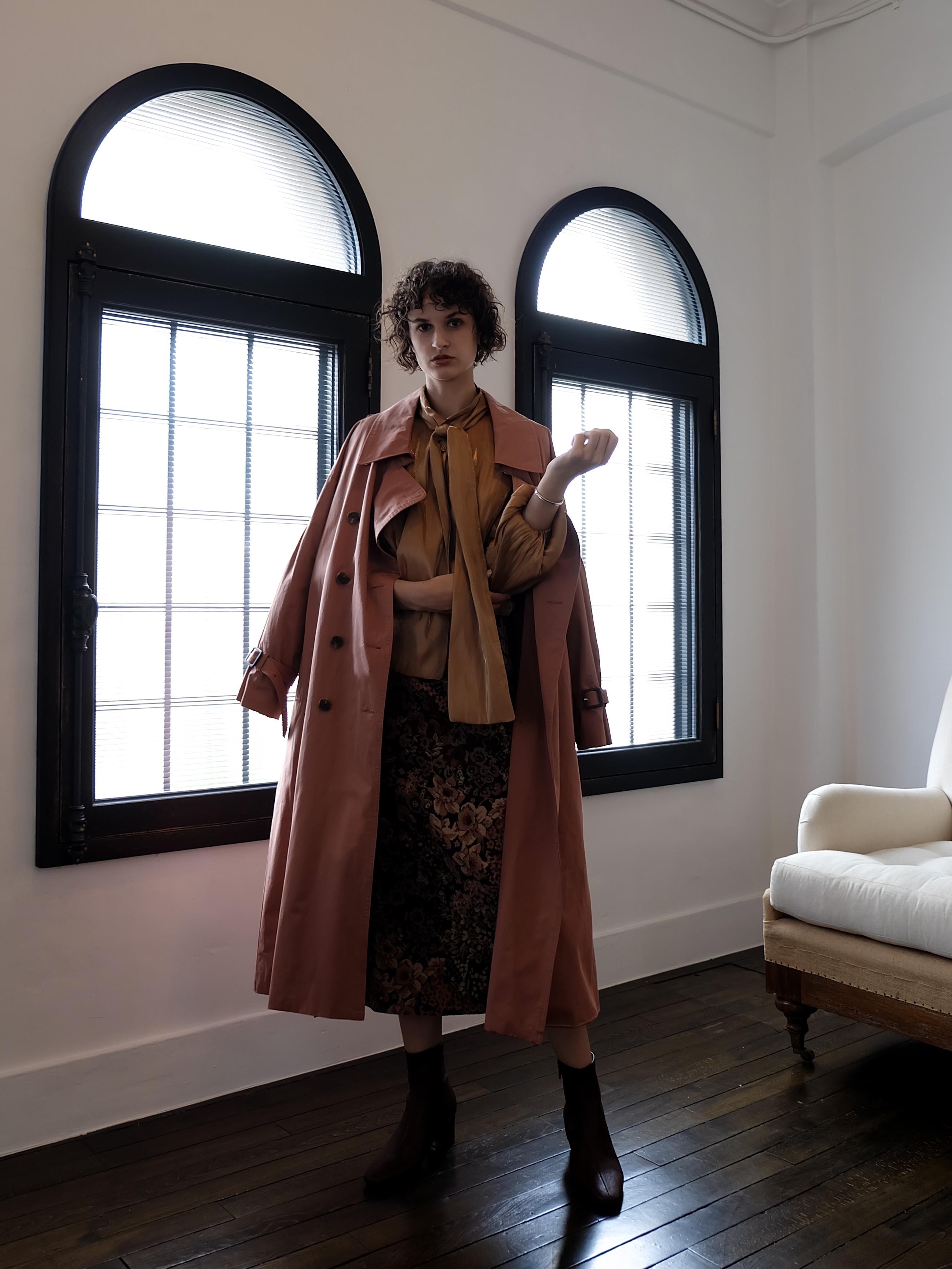 pleats trench coat(terracotta brown)