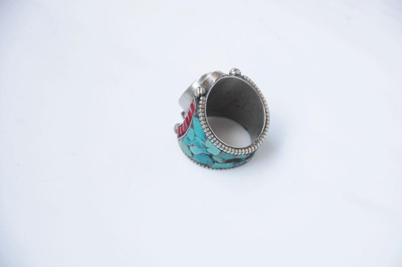 heavy mosaic stone ring