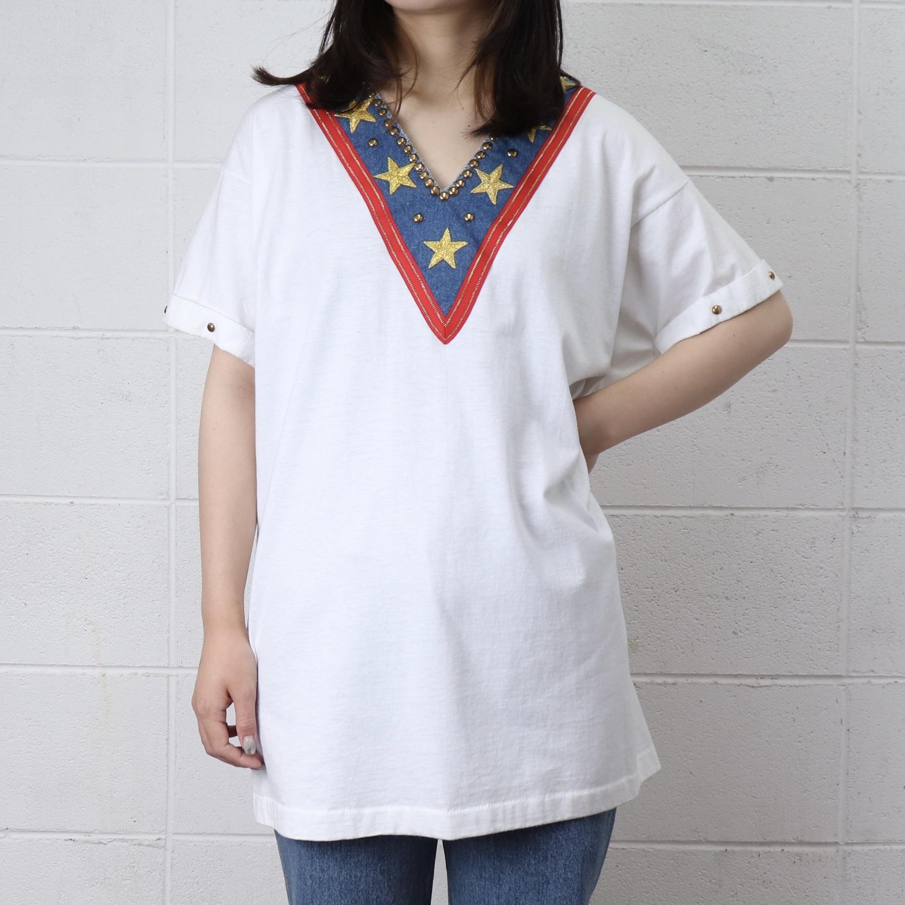 レディース 80年代 USA製 Vネック Tシャツ 星条旗 アメリカ 古着 ホワイト 日本L