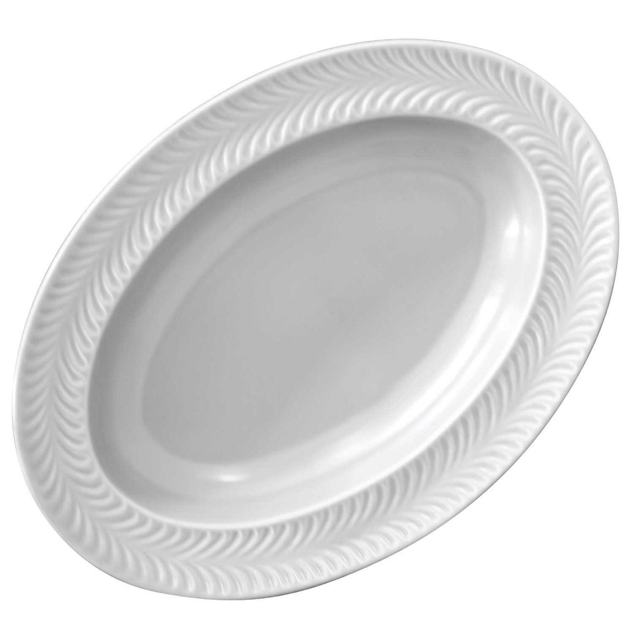 波佐見焼 翔芳窯 ローズマリー リムオーバル 皿 約27×19cm マットグレー