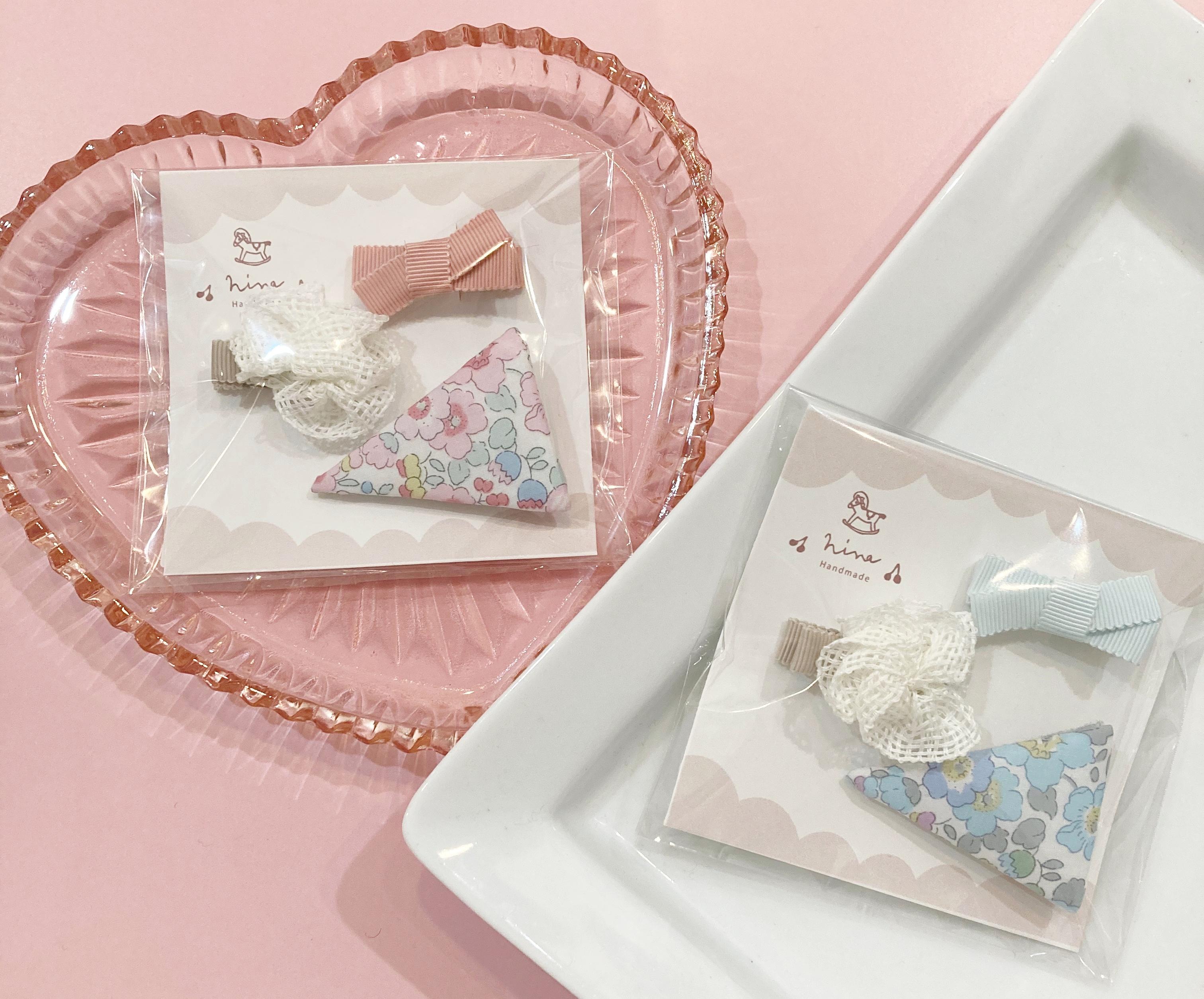 【nina】ヘアクリップ3点set(ピンク、ブルー)