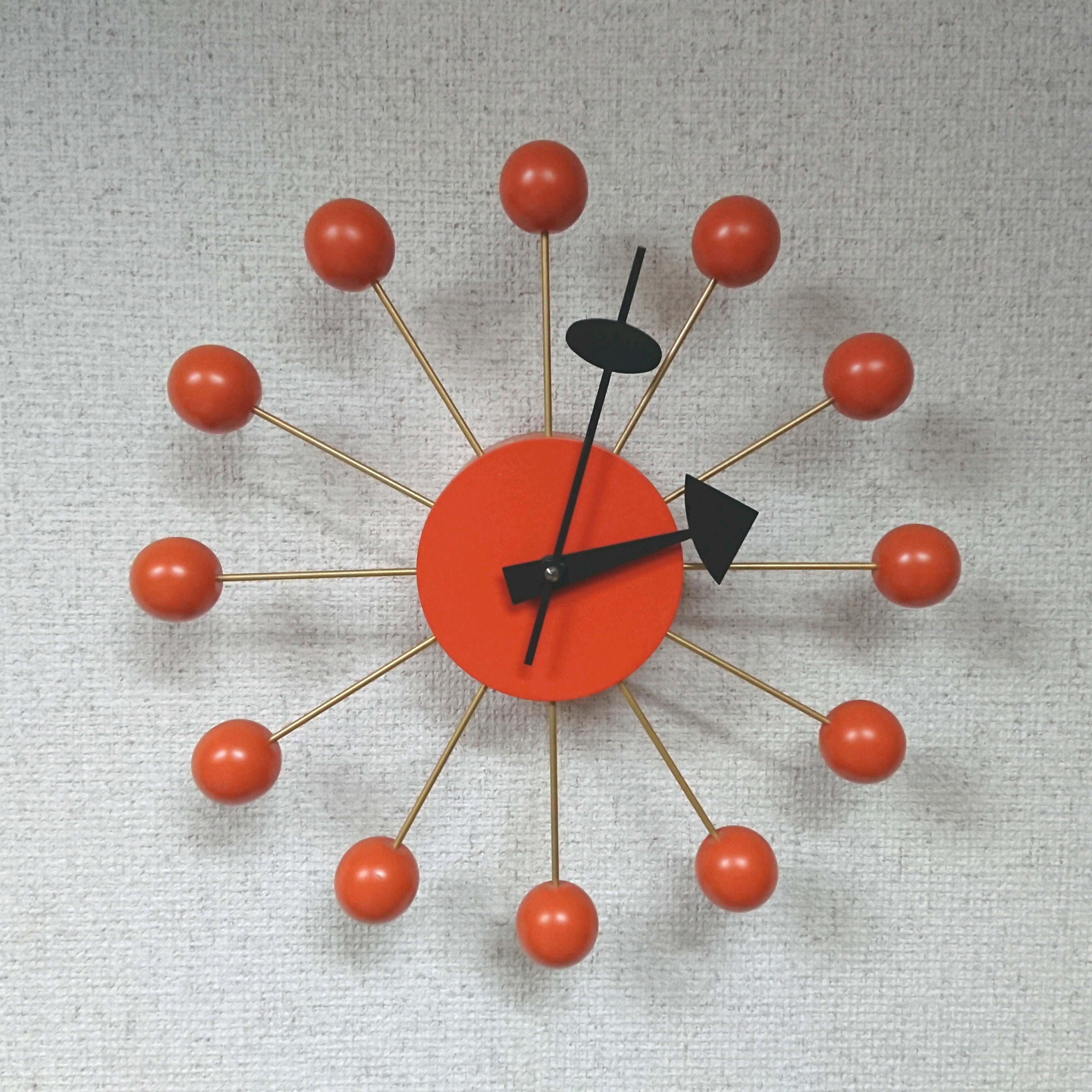 Vitra/ヴィトラ George Nelson/ジョージ・ネルソン ボールクロック 正規品 オレンジカラー ネルソンクロック
