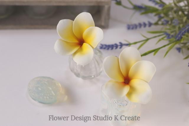 ウェディング&フラダンスに♡プルメリアのUピン(黄色:1本) イエロー 造花 ハワイ挙式 海外挙式 髪飾り 浴衣