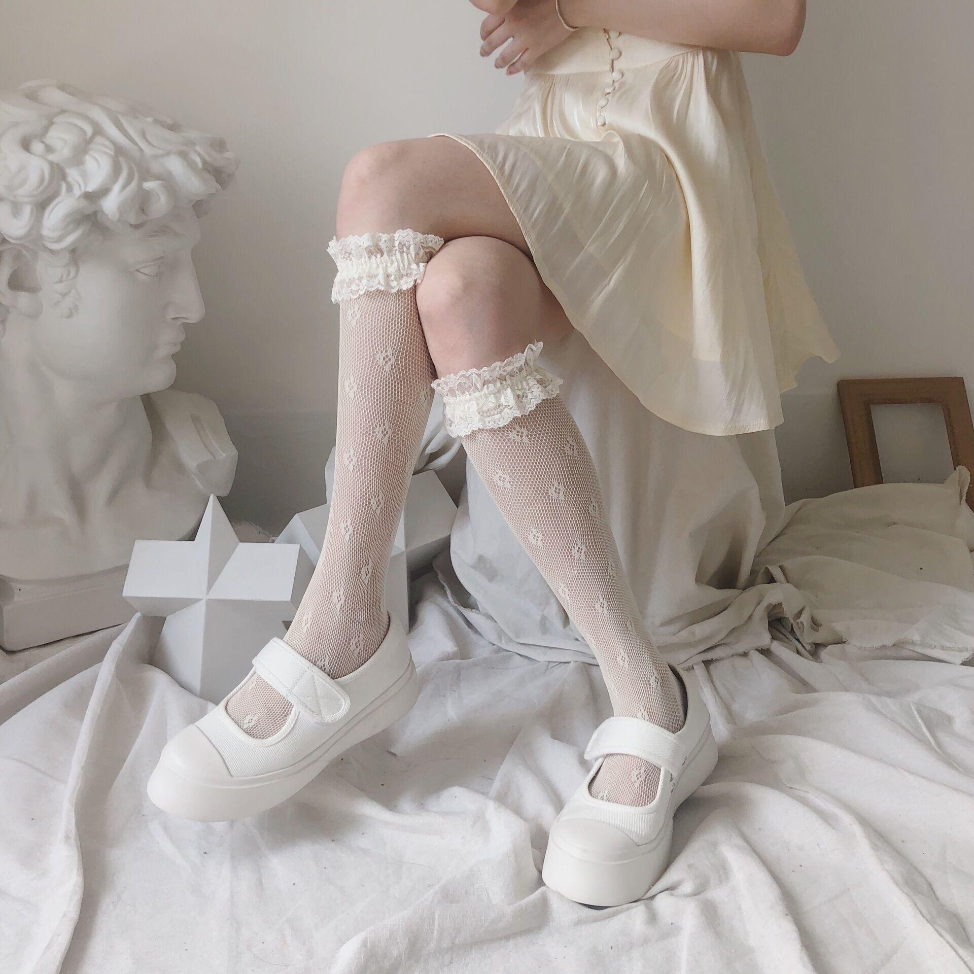 flower pattern lace frill socks 3c's
