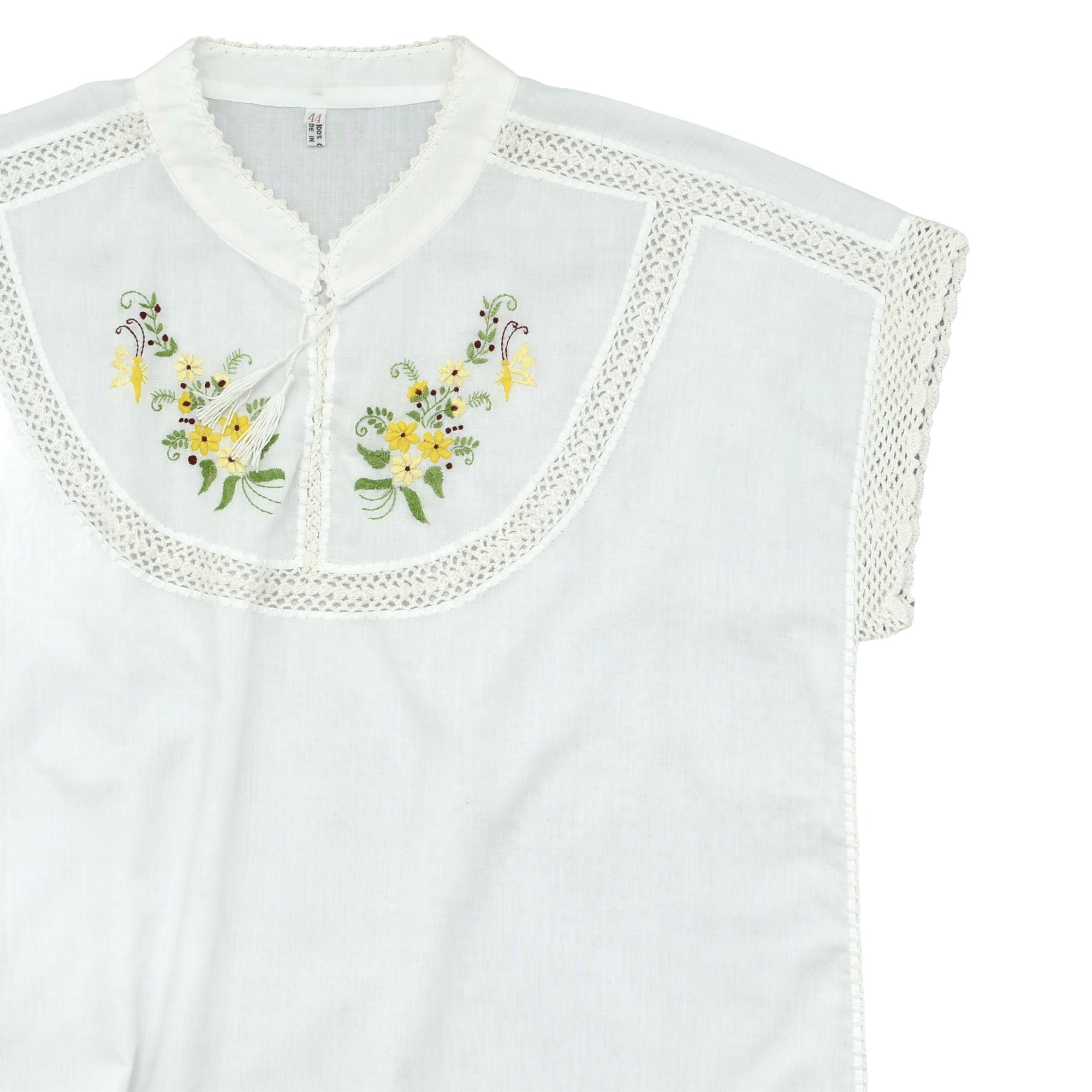 Flower mbroidery & Crochet square blouse