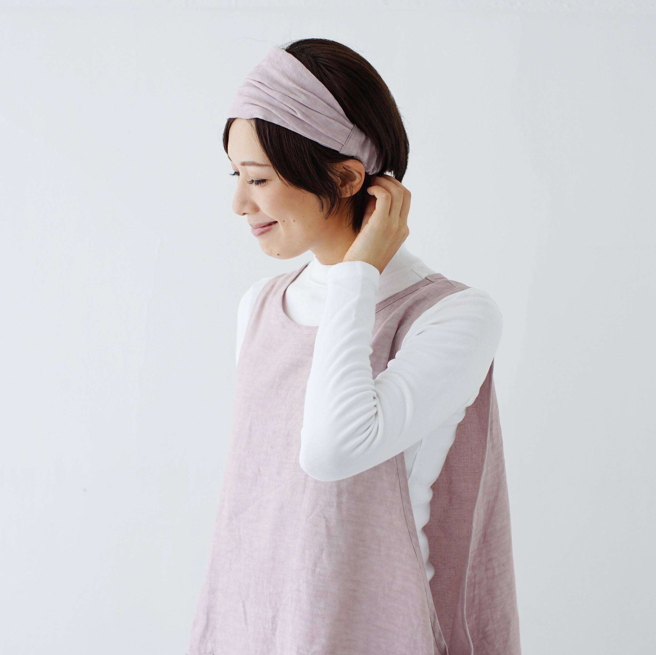 ワークヘアバンド work hairband / リネン linen / grayish pink