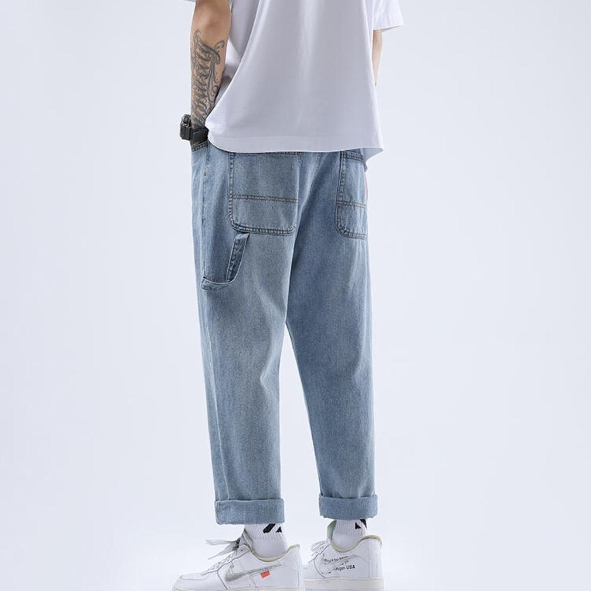 カジュアルワイドレッグストレートパンツ 韓国風 ストリートファッション