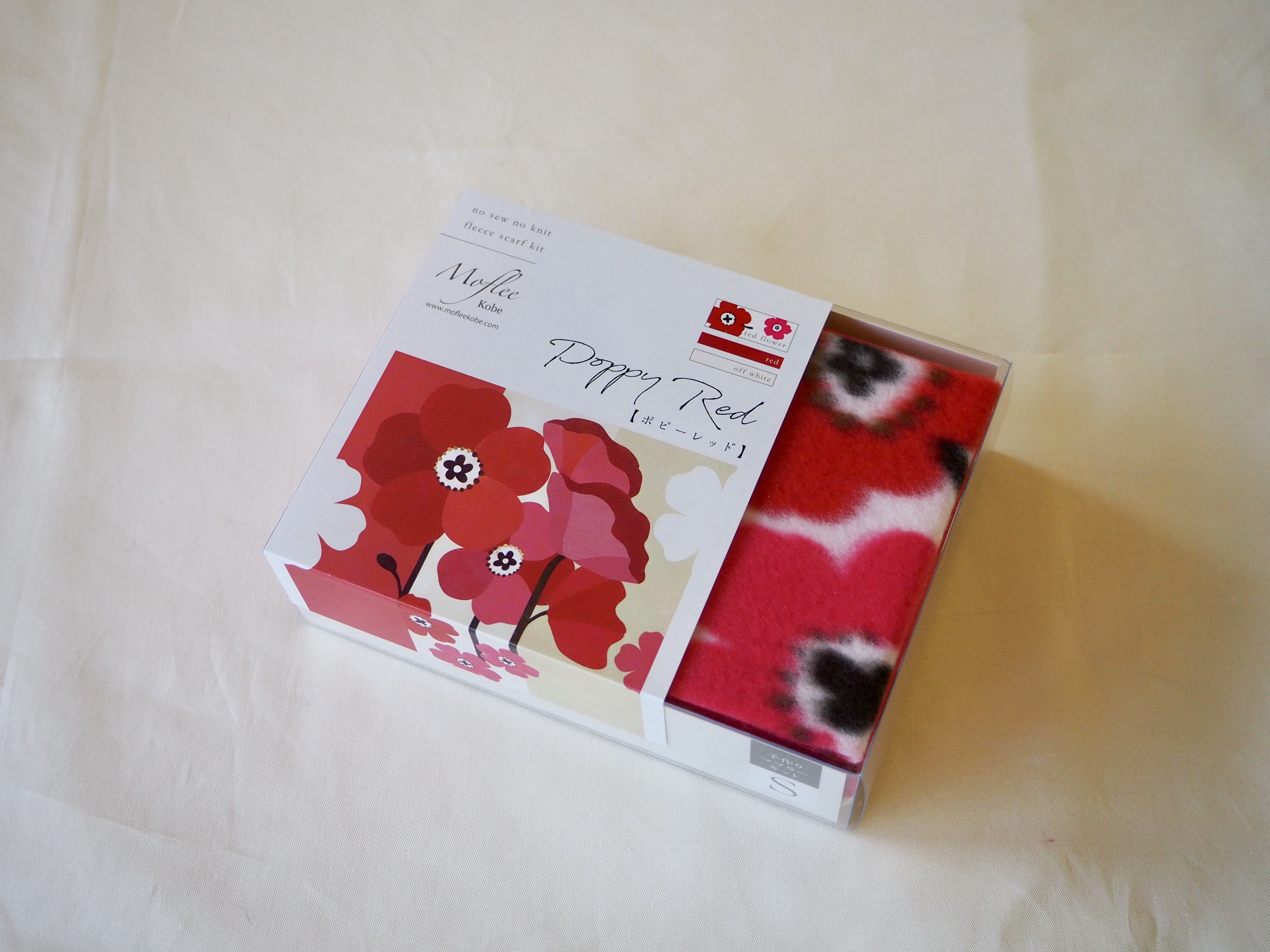 動画付手作りマフラーキット【モフリー Kit Box】ポピーレッド◆Sサイズ