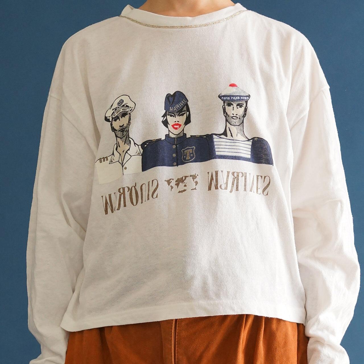 【送料無料】80's White Maritime Print  T-Shirt