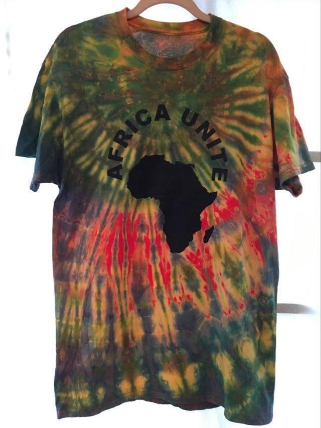 ガーナの手染めTシャツ【M】 AFRICA UNITE-⑪