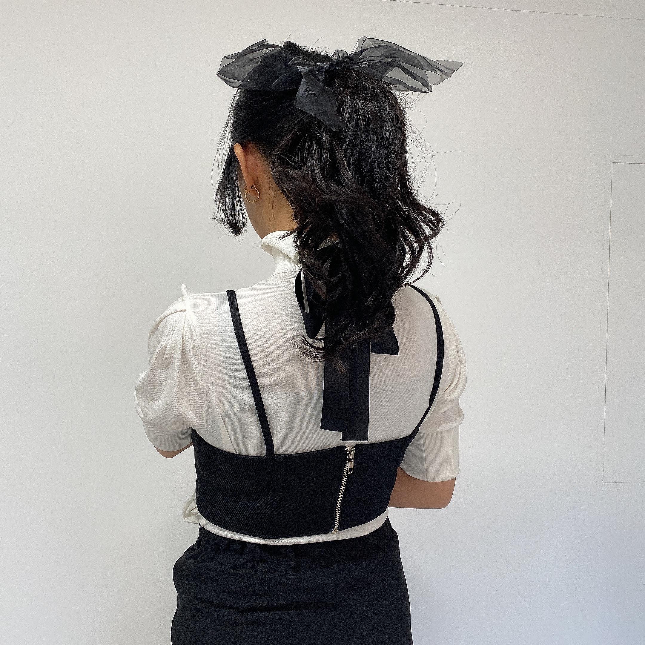 【Belle】big ribbon pin / black