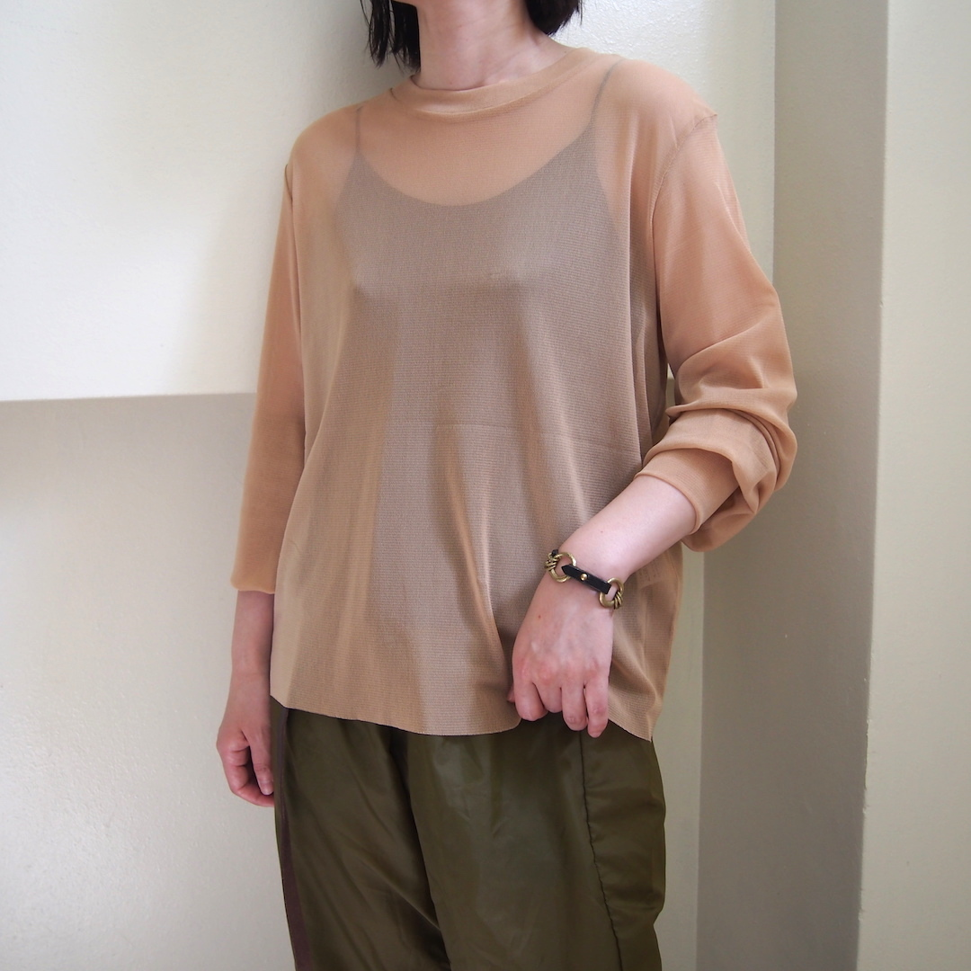 【hippiness】tulle long sleeve(beige) /【ヒッピネス】チュール ロングスリーブ(ベージュ)