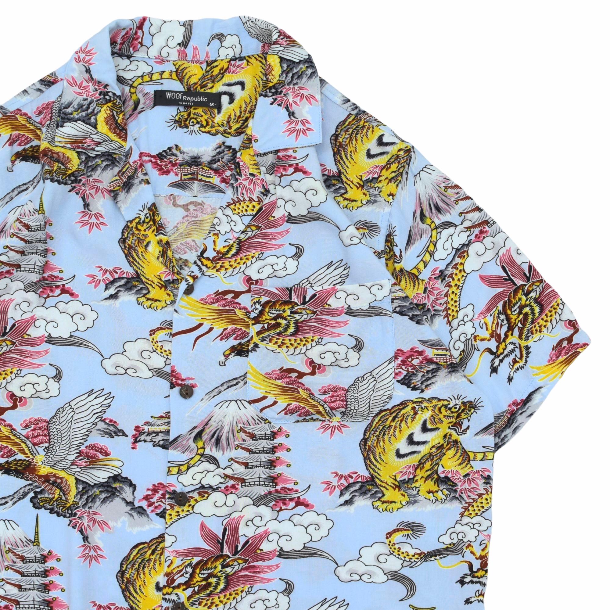 "WOOF republic ""和柄"" rayon aloha shirt"