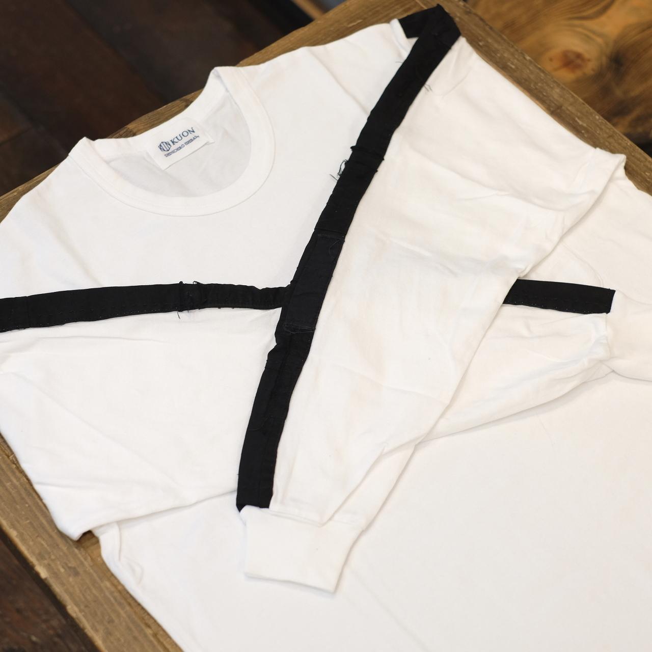 KUON(クオン) アップサイクル トリミングロングTシャツ ホワイト×ブラック